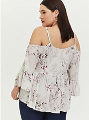 Ivory Floral Textured Rayon Cold Shoulder Babydoll Top, FLORAL - IVORY, alternate