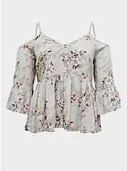 Ivory Floral Textured Rayon Cold Shoulder Babydoll Top, FLORAL - IVORY, hi-res