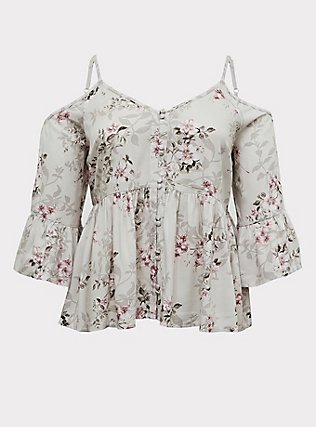 Ivory Floral Textured Rayon Cold Shoulder Babydoll Top, FLORAL - IVORY, flat