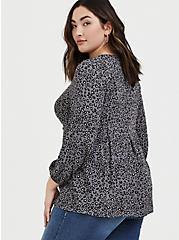 Grey Leopard Crinkle Gauze Pleated Fit & Flare Blouse, LEOPARD - GREY, alternate