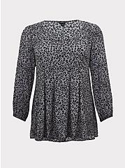 Grey Leopard Crinkle Gauze Pleated Fit & Flare Blouse, LEOPARD - GREY, hi-res