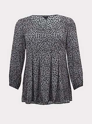 Plus Size Grey Leopard Crinkle Gauze Pleated Fit & Flare Blouse, LEOPARD - GREY, flat