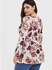 Ivory Rose Crinkle Gauze Pleated Fit & Flare Blouse, FLORAL - IVORY, alternate