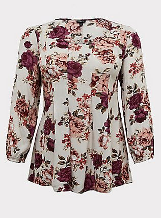 Plus Size Oyster Grey Rose Crinkle Gauze Pleated Fit & Flare Blouse, FLORAL - IVORY, flat