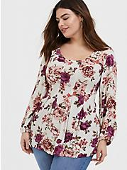 Ivory Rose Crinkle Gauze Pleated Fit & Flare Blouse, FLORAL - IVORY, hi-res
