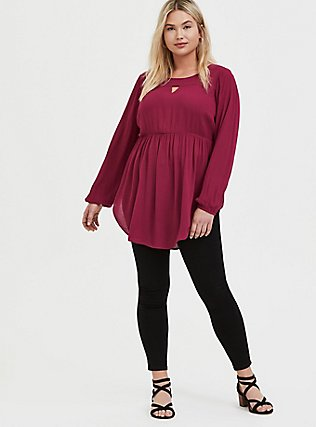 Red Wine Gauze Babydoll Tunic, BEET RED, alternate