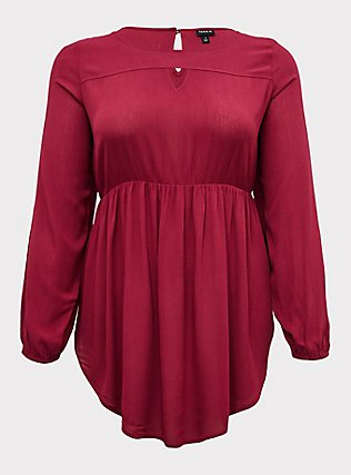 Red Wine Gauze Babydoll Tunic, BEET RED, flat