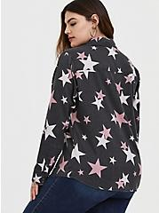 Taylor - Black Burnout Star Button Front Relaxed Fit Shirt, STARS - BLACK, alternate