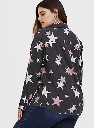 Plus Size Taylor - Black Burnout Star Button Front Relaxed Fit Shirt, STARS - BLACK, alternate
