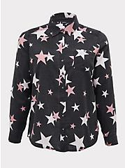 Taylor - Black Burnout Star Button Front Relaxed Fit Shirt, STARS - BLACK, hi-res