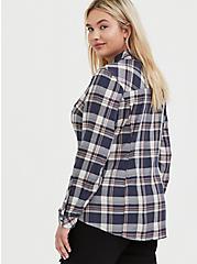 Taylor - Blue Plaid Wash & Wear Twill Slim Fit Shirt, PLAID, alternate