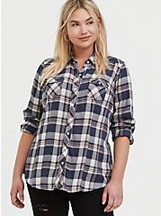 Taylor - Blue Plaid Wash & Wear Twill Slim Fit Shirt, PLAID, hi-res