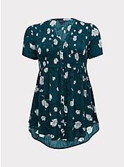 Dark Teal Floral Crinkled Gauze Babydoll Tunic , FLORAL - TEAL, hi-res