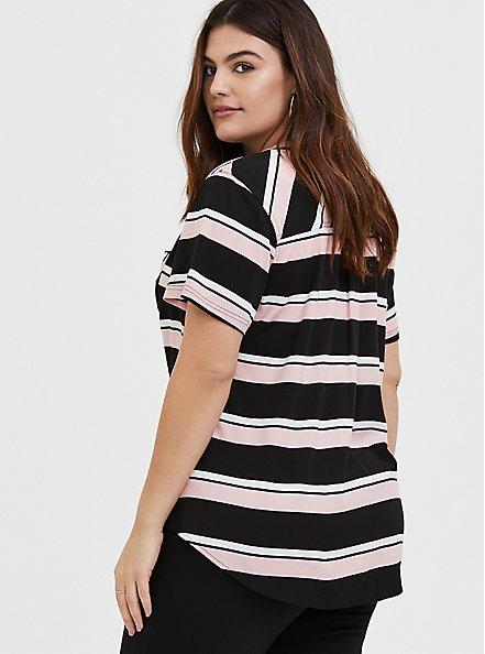 Harper - Pink & Black Stripe Stretch Challis Pullover Blouse , STRIPES, alternate