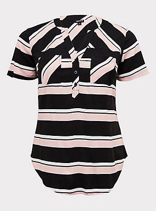 Plus Size Harper - Pink & Black Stripe Stretch Challis Pullover Blouse , STRIPES, flat