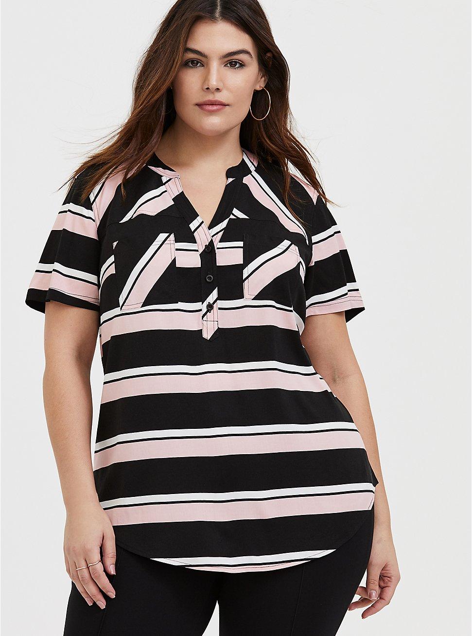 Harper - Pink & Black Stripe Stretch Challis Pullover Blouse , STRIPES, hi-res