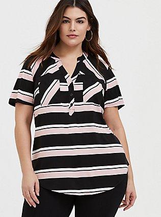 Plus Size Harper - Pink & Black Stripe Stretch Challis Pullover Blouse , STRIPES, hi-res
