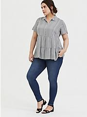 Grey Stripe Twill Button Front Shirred Babydoll Shirt , STRIPES, alternate