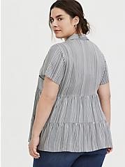Plus Size Grey Stripe Twill Button Front Shirred Babydoll Shirt , STRIPES, alternate