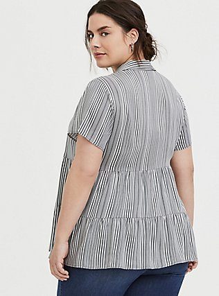 Grey Stripe Twill Tiered Button Front Babydoll Shirt , STRIPES, alternate
