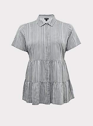 Grey Stripe Twill Tiered Button Front Babydoll Shirt , STRIPES, flat