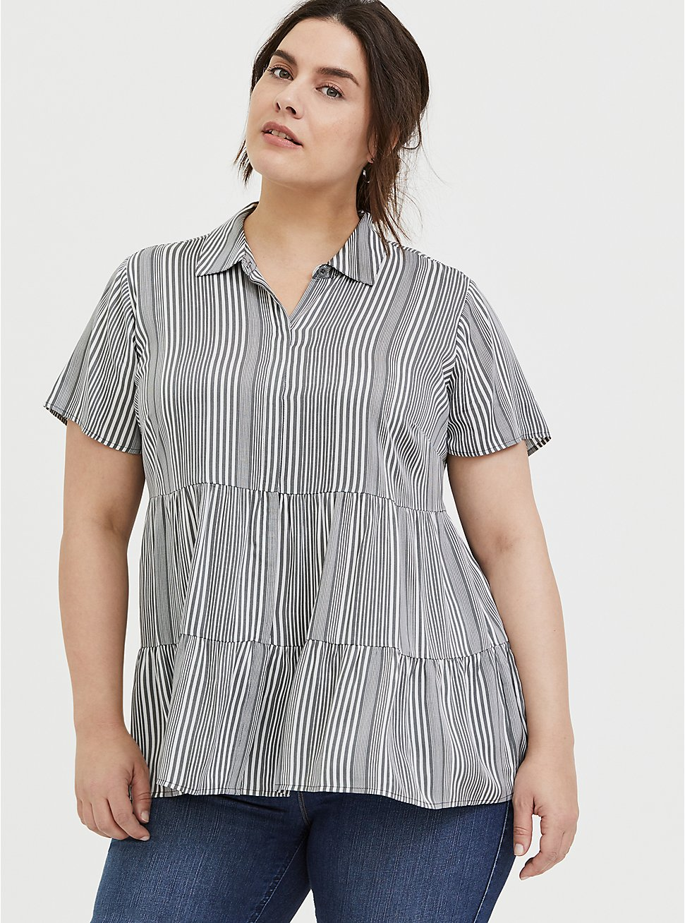 Plus Size Grey Stripe Twill Button Front Shirred Babydoll Shirt , STRIPES, hi-res