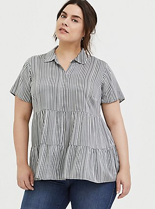 Grey Stripe Twill Tiered Button Front Babydoll Shirt , STRIPES, hi-res