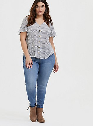 Plus Size White & Navy Stripe Gauze Button Top, STRIPES, alternate