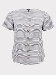 White & Navy Stripe Gauze Button Top, STRIPES, hi-res