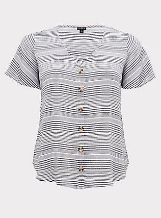 Plus Size White & Navy Stripe Gauze Button Top, STRIPES, flat