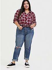 Taylor - Red Plaid Twill Tie Front Slim Fit Midi Shirt, PLAID, alternate