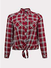 Taylor - Red Plaid Twill Tie Front Slim Fit Midi Shirt, PLAID, hi-res