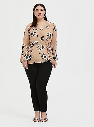 Beige Floral Chiffon Side Knot Blouse , FLORAL - BROWN, alternate