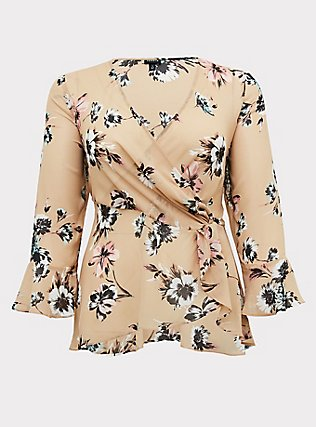 Beige Floral Chiffon Side Knot Blouse , FLORAL - BROWN, flat