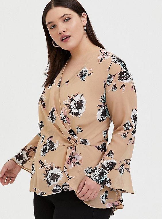 Plus Size Beige Floral Chiffon Side Knot Blouse , , hi-res