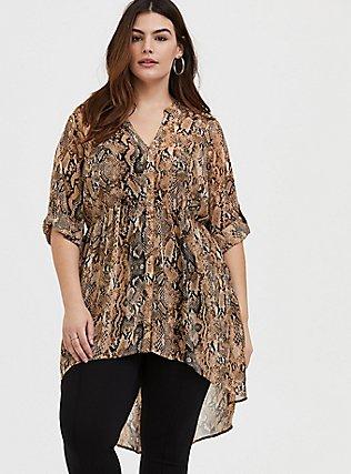 Plus Size Lexie - Snakeskin Print Chiffon Babydoll Tunic, REPTILE - TAN, alternate