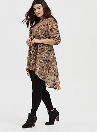 Plus Size Lexie - Snakeskin Print Chiffon Babydoll Tunic, REPTILE - TAN, hi-res