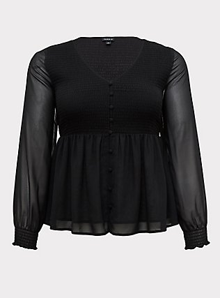 Plus Size Black Chiffon Smocked Button Babydoll Blouse, DEEP BLACK, flat