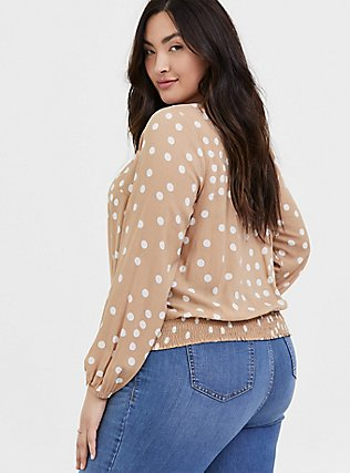 Tan Polka Dot Challis Twist Front Crop Top, DOTS - BROWN, alternate