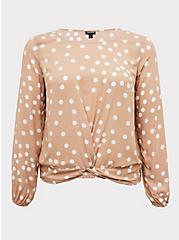 Tan Polka Dot Challis Twist Front Crop Top, DOTS - BROWN, hi-res