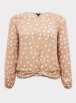 Tan Polka Dot Challis Twist Front Crop Top, DOTS - BROWN, flat