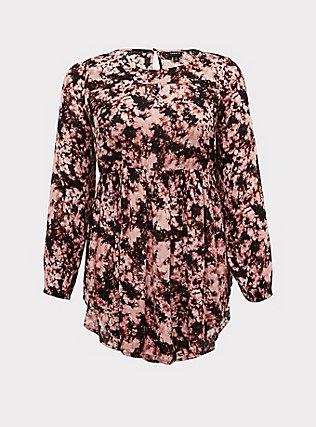 Pink Tie-Dye Gauze Babydoll Tunic, TIE DYE, flat