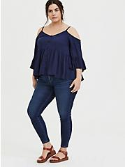 Plus Size Navy Textured Rayon Cold Shoulder Babydoll Top, PEACOAT, alternate