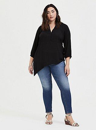 Plus Size Black Challis Asymmetrical Tunic Blouse, DEEP BLACK, alternate