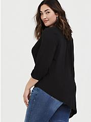 Black Challis Asymmetrical Tunic Blouse, DEEP BLACK, alternate