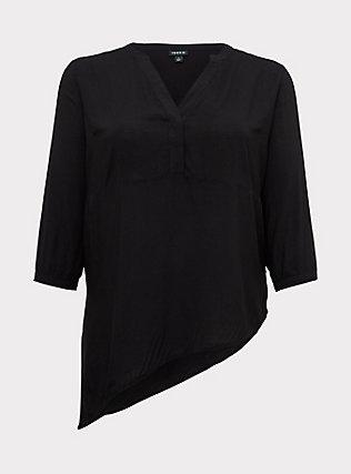 Plus Size Black Challis Asymmetrical Tunic Blouse, DEEP BLACK, flat