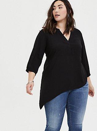 Plus Size Black Challis Asymmetrical Tunic Blouse, DEEP BLACK, hi-res