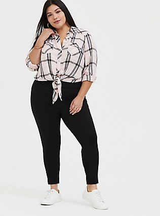 Plus Size Taylor - Pink Plaid Twill Tie-Front Slim Fit MidiShirt, PLAID, alternate