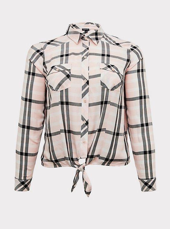 Taylor - Pink Plaid Twill Tie Front Slim Fit Midi Shirt, , flat