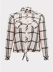 Taylor - Pink Plaid Twill Tie Front Slim Fit Midi Shirt, PLAID, hi-res